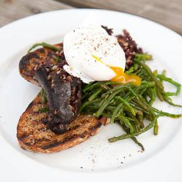 Pic of Samphire, black pudding and duck egg on toast