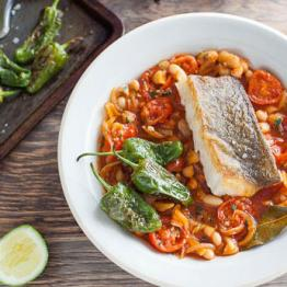Pan-fried Pollock with Padron Peppers, Tomatoes and White Beans