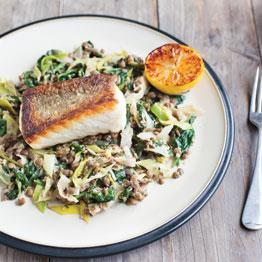 Pan-fried Pollock and Lentils with Leeks, Spinach and Burnt Lemon