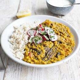 Mushroom dahl with radishes, rice and yoghurt