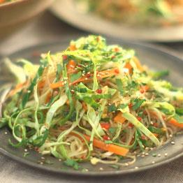 Pic of Asian cabbage, garlic and noodle salad