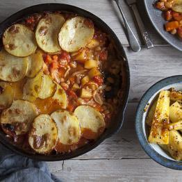 Bean and vegetable hotpot with roasted parsnips