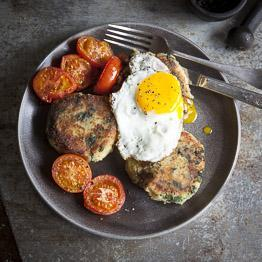 Pic of Bubble and squeak cakes with eggs
