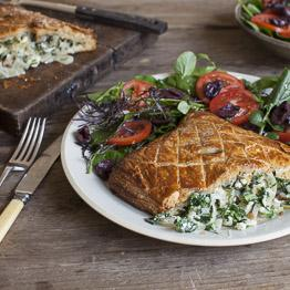 Pic of Chard and sheep's cheese pie with tomato and olive salad