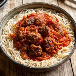 Pic of Italian meatballs with roasted peppers and spelt spaghetti