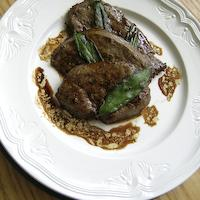 Pic of Lamb's liver with caramelised red onion