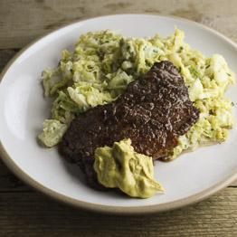 Pic of Minute steak and Dijon mustard with smashed potatoes, cabbage, crème fraîche and herbs