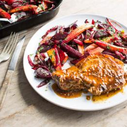 Mustard glazed pork chops with beets, red onions and new season carrots