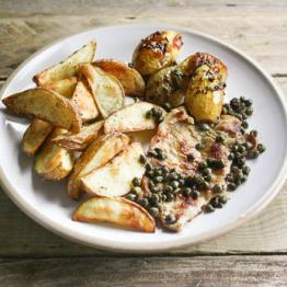 Pork escalopes with capers, lemon and parsley, with genoese potatoes