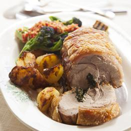 Pic of Roast pork stuffed with chard, garlic and sage, and apple sauce