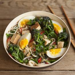 Pic of Purple sprouting broccoli and miso noodles with tofu and spring greens
