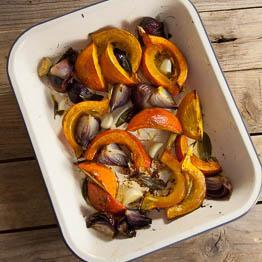 Pic of Roasted squash and red onion wedges