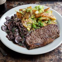 Pic of Sirloin steak, mushroom and red wine sauce with sauté potatoes and shredded sprouts