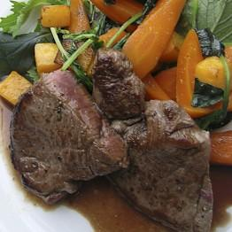 Pic of Fillet steak with Stilton and herb roasted veg