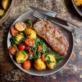 Pic of Warm steak salad with potatoes, tomatoes and rocket