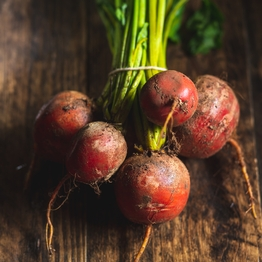 Bunched golden beetroot