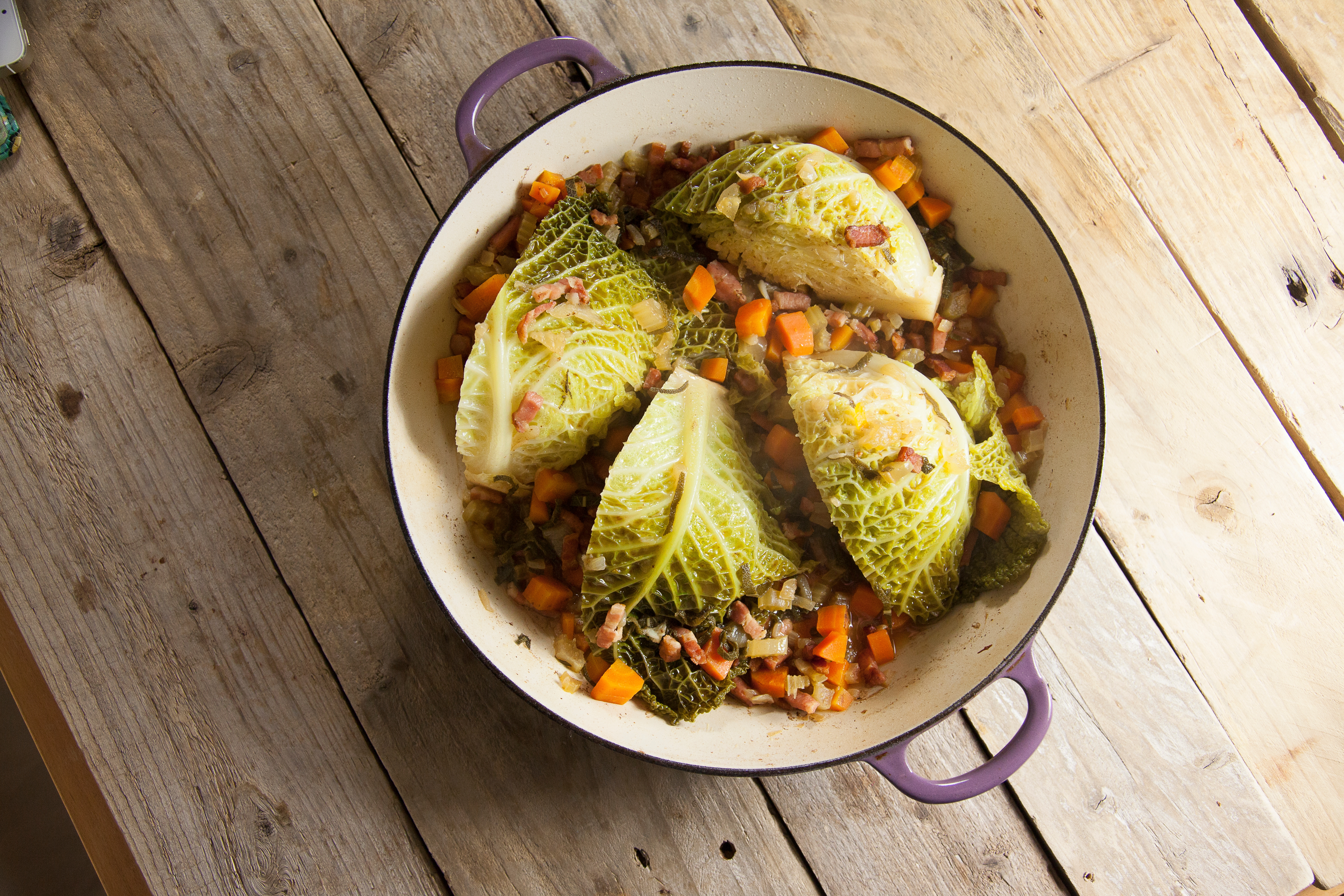 Braised Savoy With Pancetta Recipe Riverford