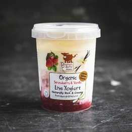 Brown Cow Organics strawberry and vanilla yoghurt