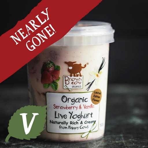 Brown Cow Organics strawberry and vanilla yoghurt 500g