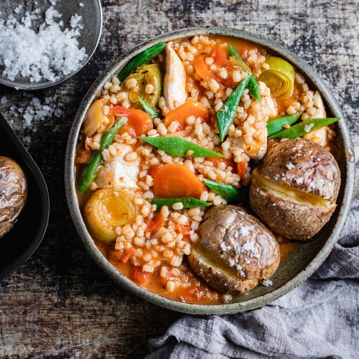 Chicken & Barley Stew with Baked Spuds