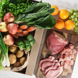 Seasonal organic fruit & veg box plus meat – large