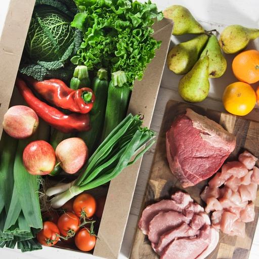 Quick organic fruit & veg box plus meat – large