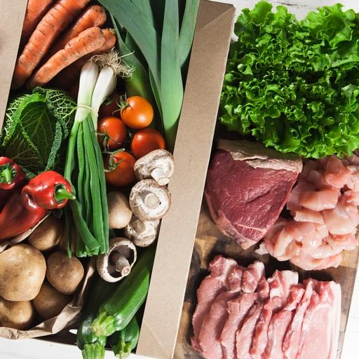 Seasonal organic veg box plus meat - large
