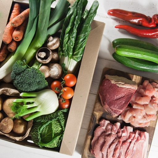 Seasonal organic veg box plus meat - bumper