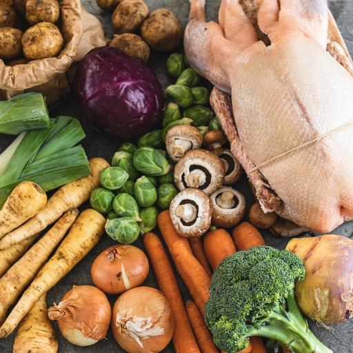 Large goose with large seasonal veg box