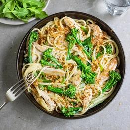 Chicken & Tenderstem Linguine with Italian Crumbs