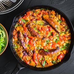 Sausage Cassoulet & Caraway Cabbage