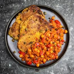 Crispy Beef Escalopes & Smoky Braised Chickpeas