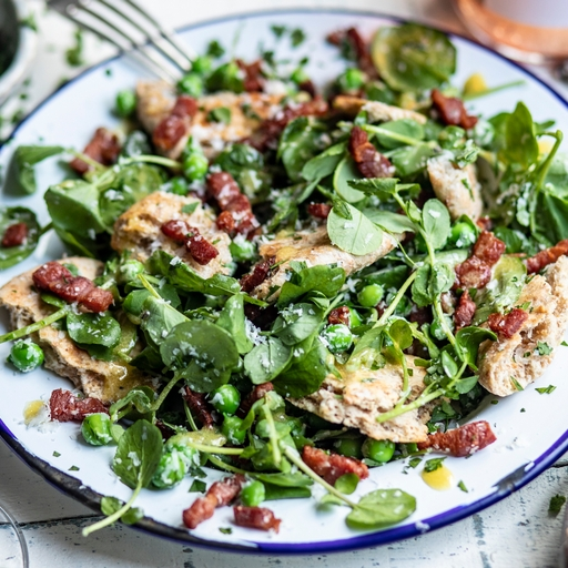 Warm Pea & Bacon Lardon Salad