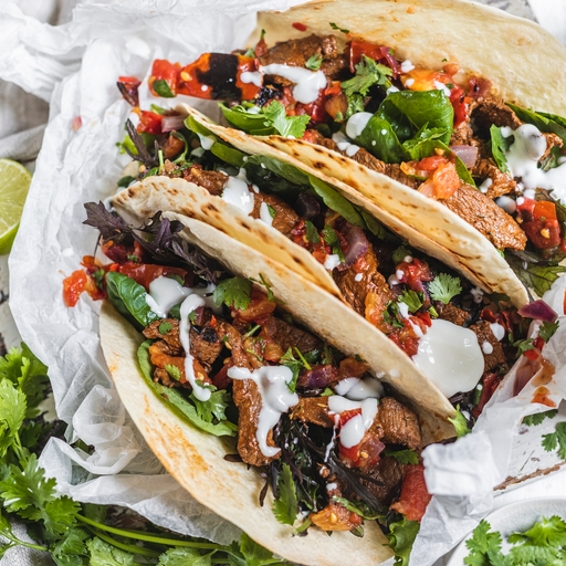 Beef Tacos with Roasted Tomato Salsa
