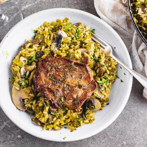 Pork Steaks with Mushroom & Pesto Orzo