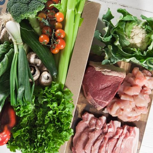 No potatoes organic veg box plus meat – large