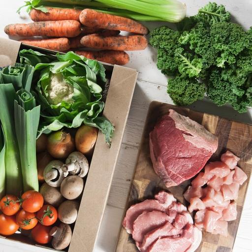 No potatoes organic veg box plus meat – medium