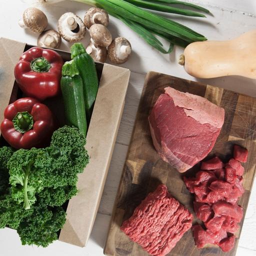 No potatoes organic veg box plus meat – small