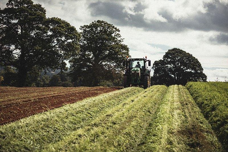 Fields being ploughed on the Farley's farm in Devon