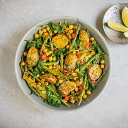 Indian Coconut Spinach & Potato Traybake