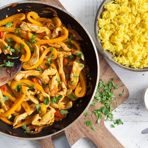Chicken Jalfrezi, Pilau Rice & Yoghurt