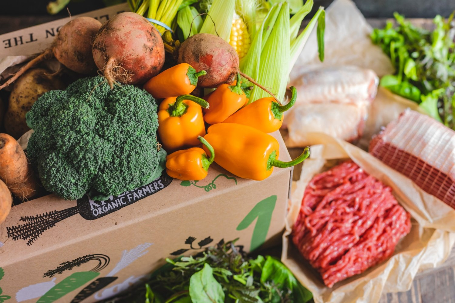 Seasonal organic veg box plus meat – small