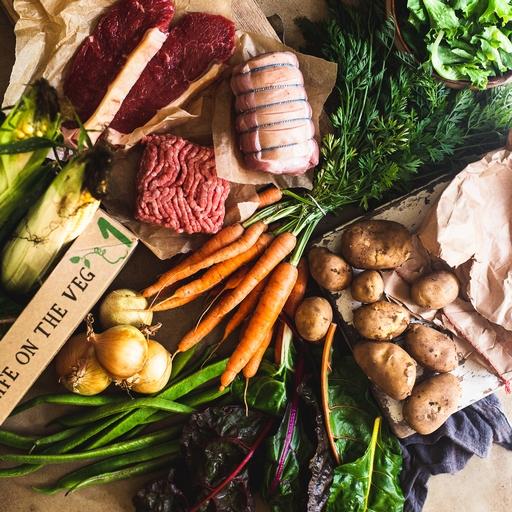 Seasonal organic veg box plus meat – small