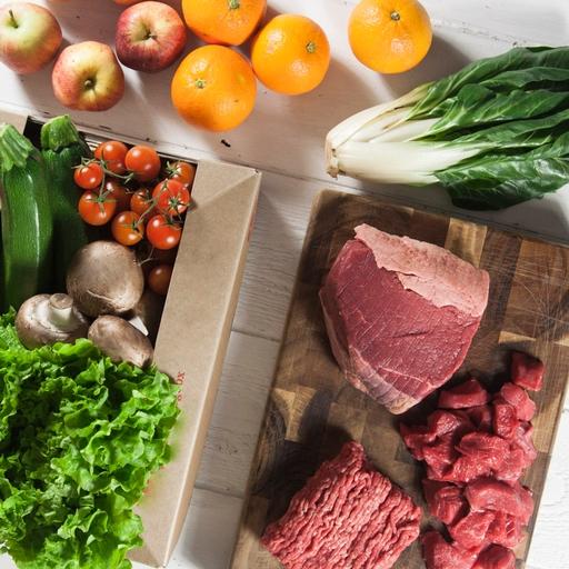 Quick organic fruit & veg box plus meat – small