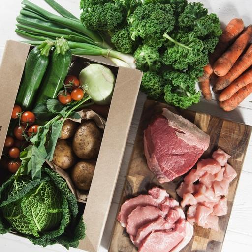 Seasonal organic veg box plus meat - medium