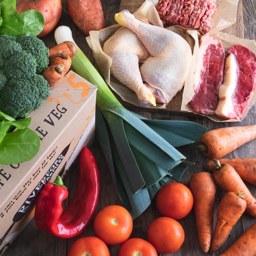 Quick organic veg box plus meat – small