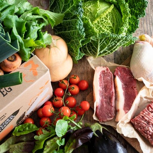 Quick organic veg box plus meat – medium