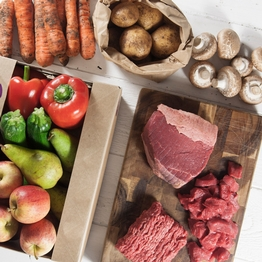 Seasonal organic fruit & veg box plus meat – small