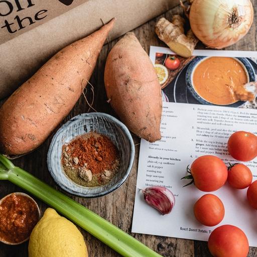 Roast Sweet Potato, Tomato & Harissa Soup