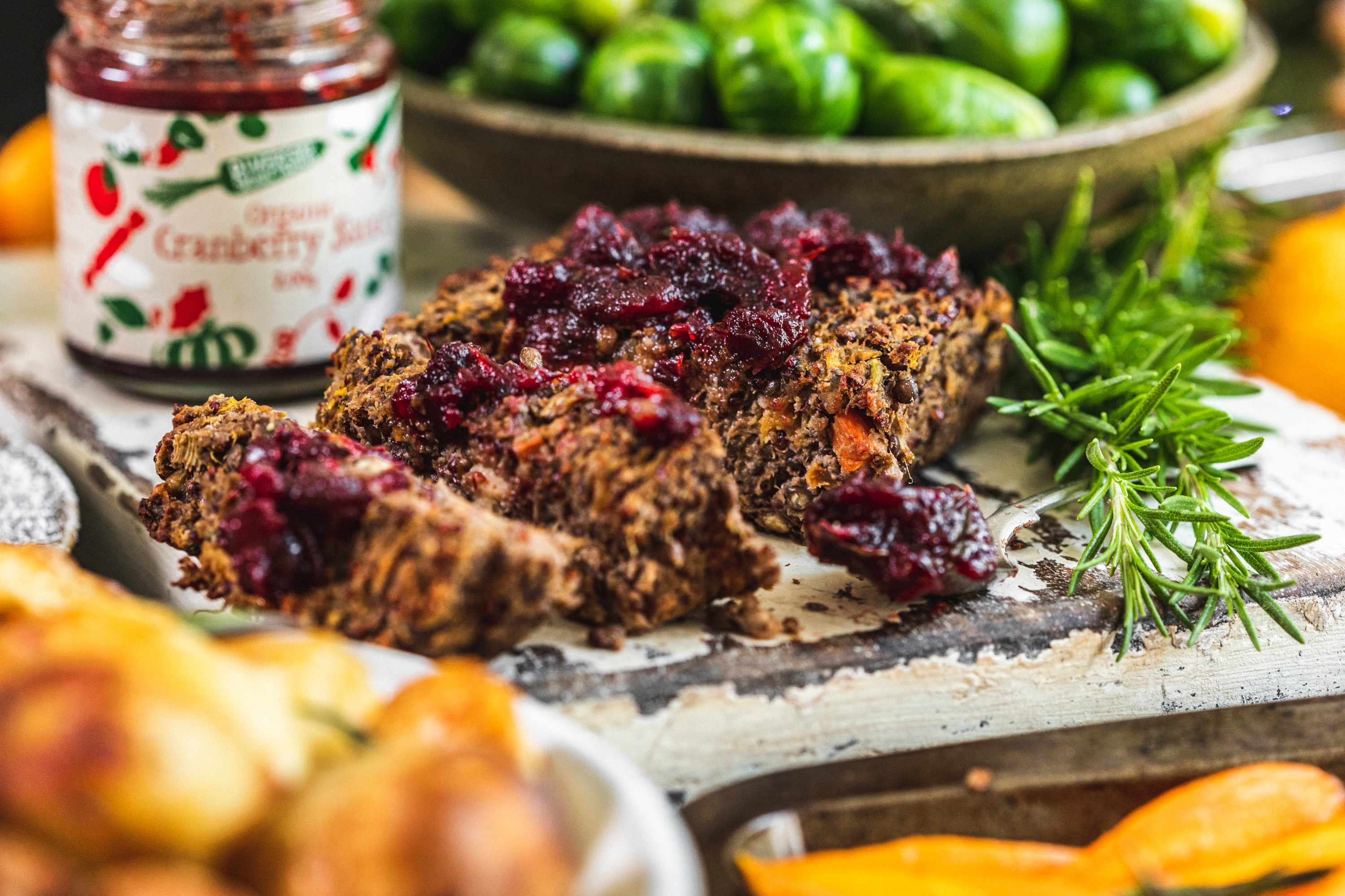 Vegan Christmas dinner box with nut roast